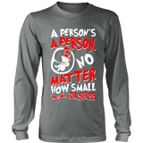 A Person's A Person, No Matter How Small Pro Life Long Sleeve T-Shirt (Red/White Letters) (Multiple Colors) - Paraclete Tees  - 5