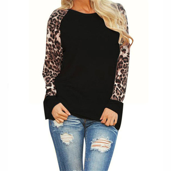 Long Sleeve Chiffon Leopard Blouse