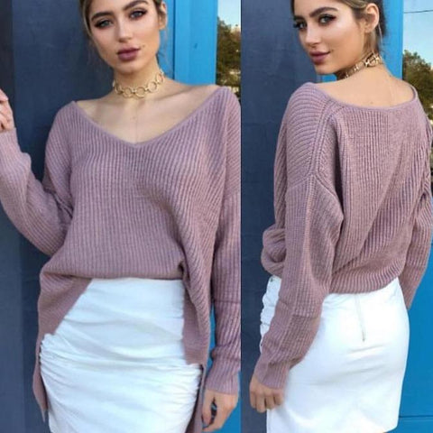 Off Shoulder Split Knitted Sweater