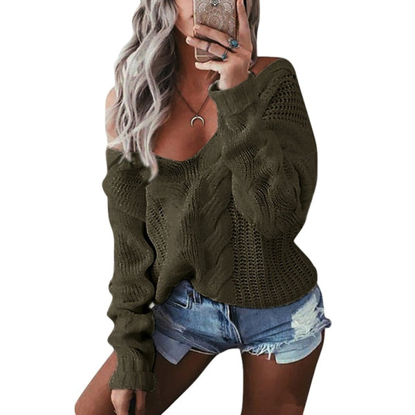 V-Neck Twist Knitted Sweater