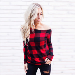 Off Shoulder Long Sleeve Plaid Top