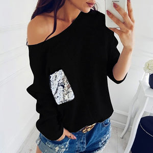 Off Shoulder Top with Sequined Pocket