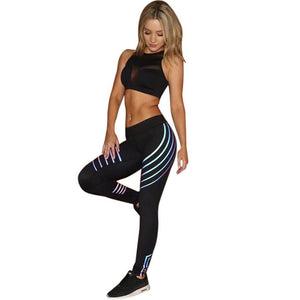 Laser Fitness Leggings - Glow in the Dark Stripes