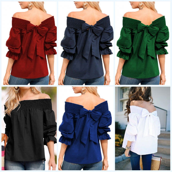 Loose Off Shoulder Bowknot Top
