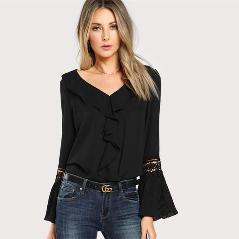 Ruffle Neck Lace / Flare Sleeve Blouse
