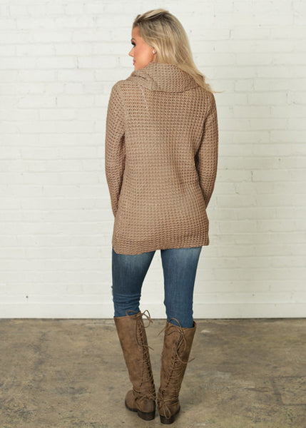 Cross Button Turtleneck Sweater