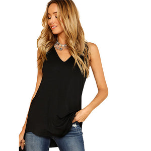 V Neck Dolphin Hem Tank Top