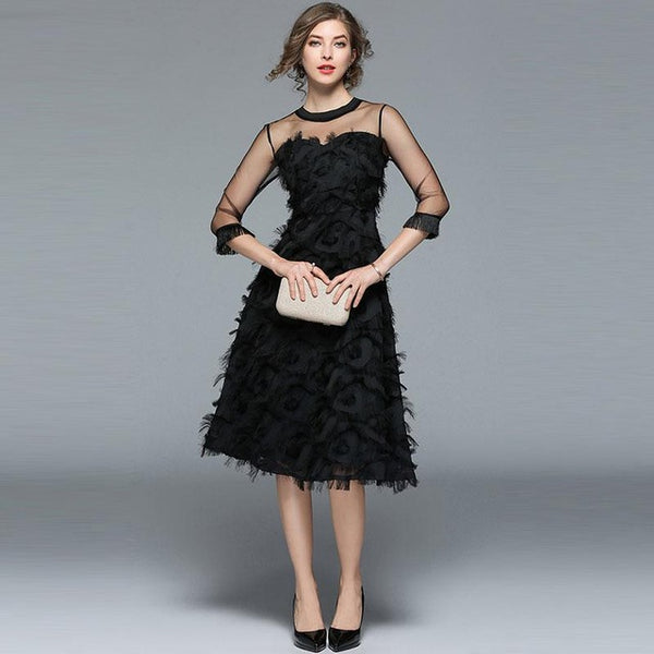Evening Party Dress - Black