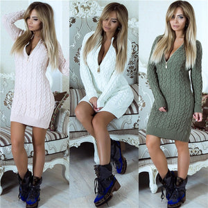Zip-up Sweater Dress