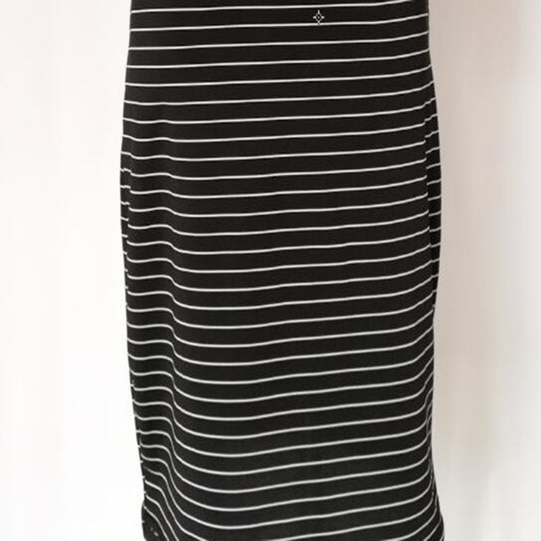 Round Neck Short-sleeved Black & White Striped Dress