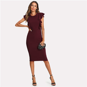 Ruffle Pencil Bodycon Dress