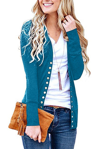 V Neck Buckle Cardigan