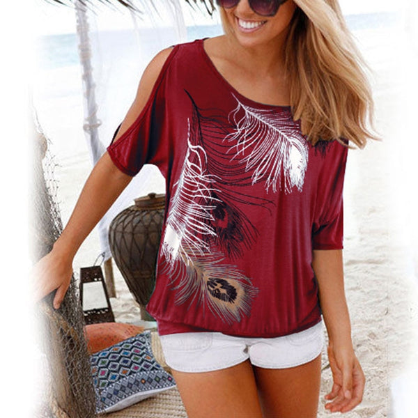 Off Shoulder Feather Print Top