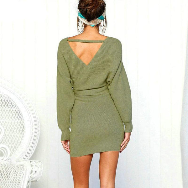 Belted Long Sleeve Mini Dress