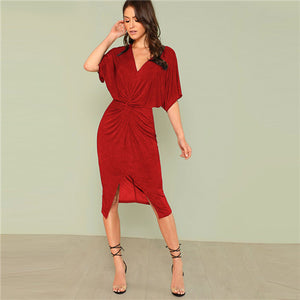 Twist Front Split Bodycon Dress