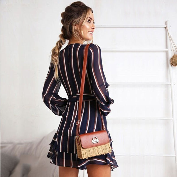 V Neck Ruffles Striped Mini Dress