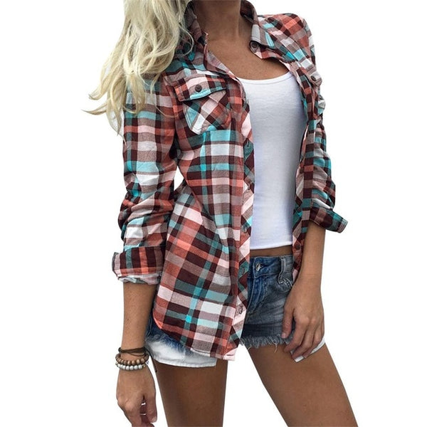 Plaid Pocket Collar Shirt