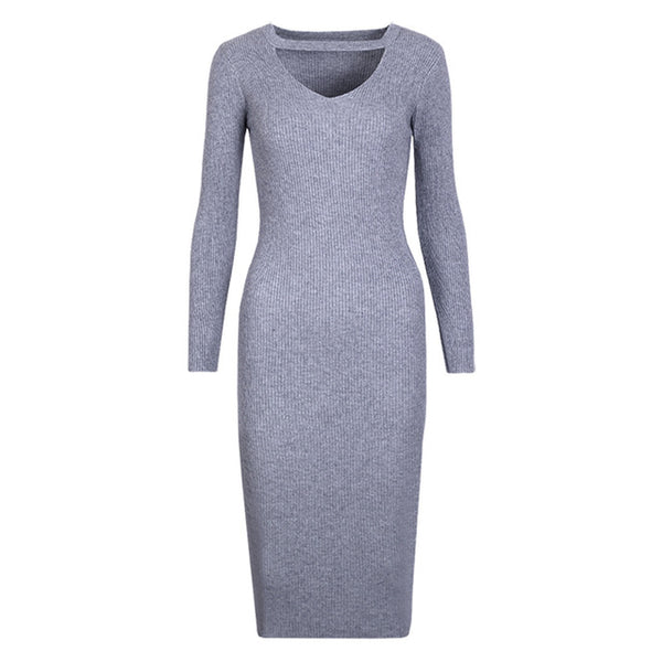 Halter Long Sleeve Sweater Dress