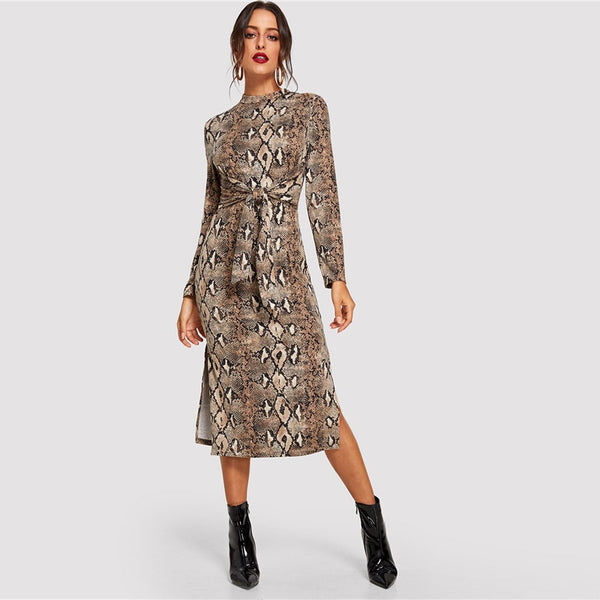 Snake Print Split Bodycon Dress