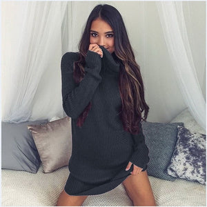 Long Turtleneck Sweater Dress