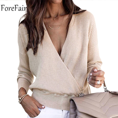 Criss Cross V Neck Sweater