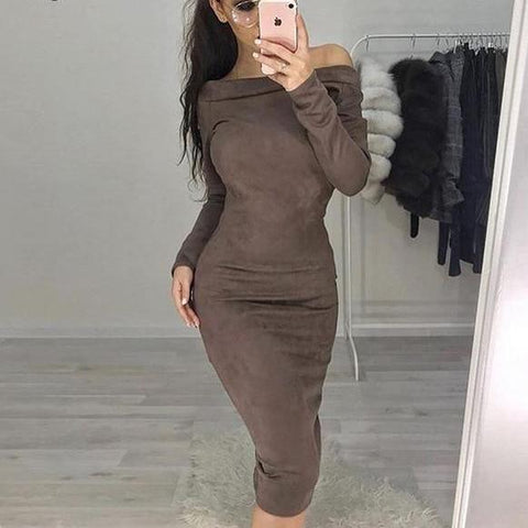 Suede Off Shoulder Dress
