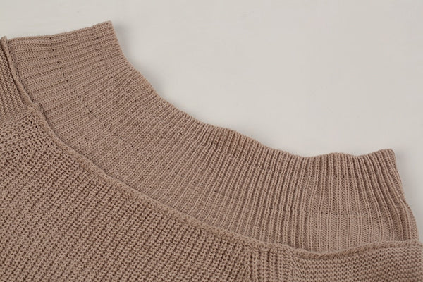 Long Sleeve Knitted Off-Shoulder Sweater