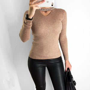 Pearl Neck Long Sleeve Sweater