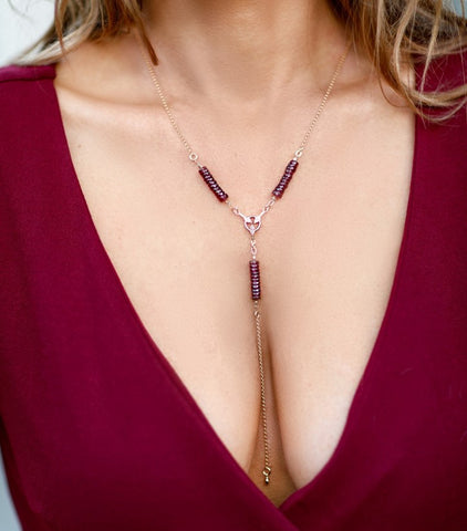 Vahe - Garnet V-Shape Necklace