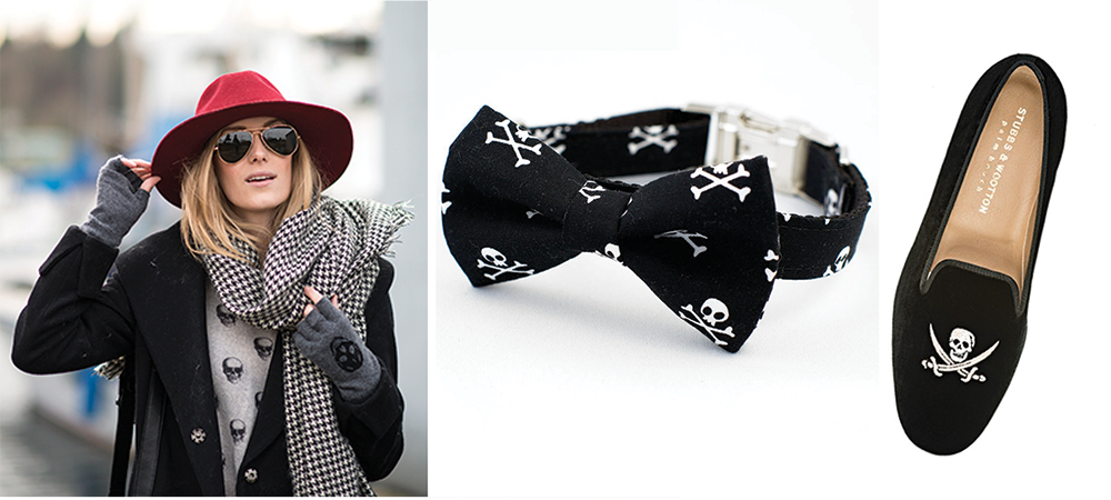 Skull Bow Tie Dog Collar