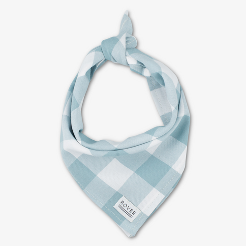 blue check dog bandana