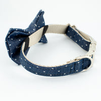 Bow Tie Dog Collar Denim