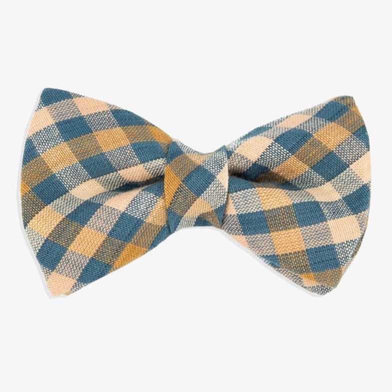 brown plaid dog bow tie