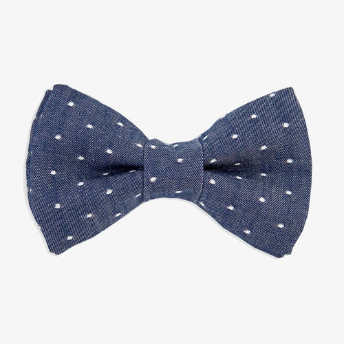 Dog Bow Tie Denim Dot