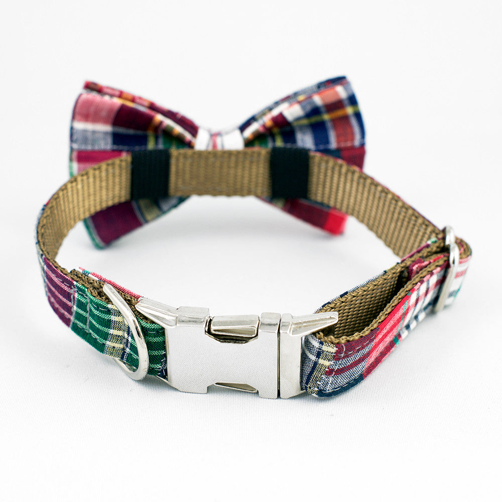 Plaid Dog Bow Tie Collar