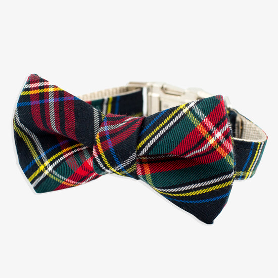 Bow Tie Dog Collar Black Tartan