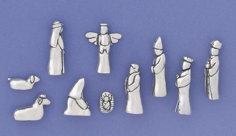 10  Piece Pewter Nativity Set