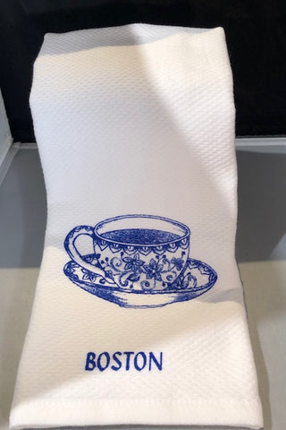 Blue Teacup Boston Tea Towel