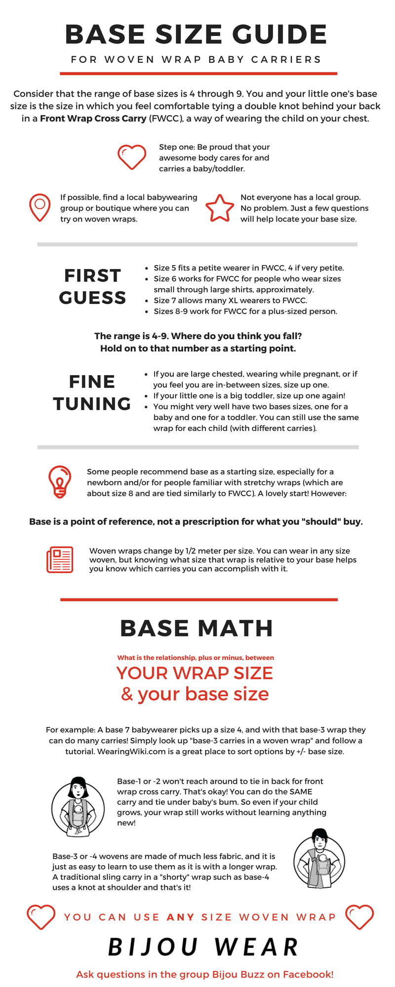 Base Size Guide For Babywearing In A Woven Wrap By Bijou Wear