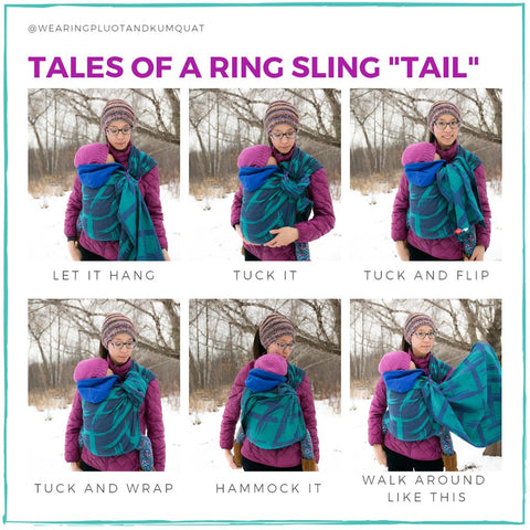 Photo graphic of six images of a tan skin bespectacled Asian woman wearing a sleeping toddler on her front in a saturated bright teal and deep periwinkle ring sling with large abstract plaid cross hatch pattern and purple rings (Plaidass Juliette). They're outside in the snow.