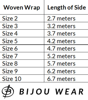 Woven Wrap Size Chart Length Meters Baby Carrier for Babywearing