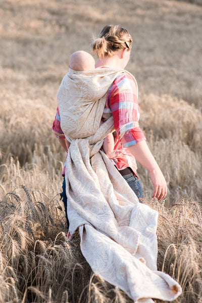 "Arcadia ""Goldie"" - Bijou Wear Woven Wraps and Ring Slings baby carrier"