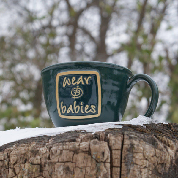 Teal French Latte Mug - Bijou Wear Gear baby carrier