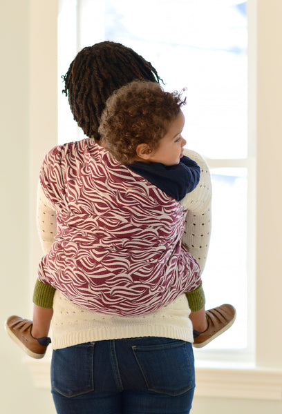 """Cranberry"" Waves Woven Wrap - Bijou Wear Woven Wraps and Ring Slings baby carrier"