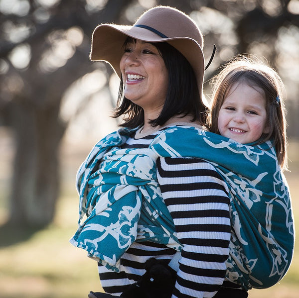 "Lilies ""Teal"" Available 4/21/17 at 10am CST - Bijou Wear Woven Wrap baby carrier"