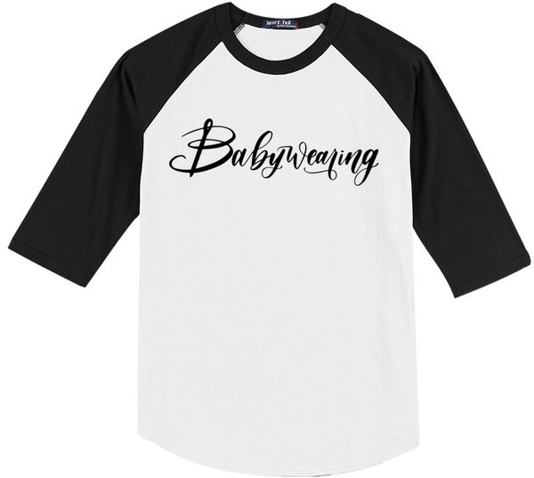 Black/White Babywearing Raglan - Bijou Wear T-Shirts baby carrier