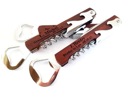 Wood Corkscrew Bottle Opener Personalized Groomsmen Gift Sets Custom Engraved