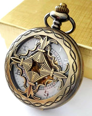 Celtic Gold Pocket Watch with Ivory Dial