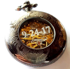 Silver Celtic Pocket Watch with Chain Arabic Numerals CLEARANCE