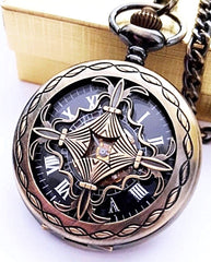 Gold Pocket Watch Black Dial Celtic
